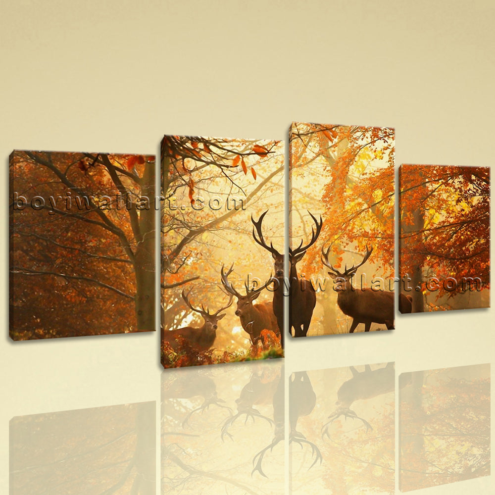 Large Deer Autumn Woods Animal Contemporary Wall Art HD Giclee Printed On Canvas