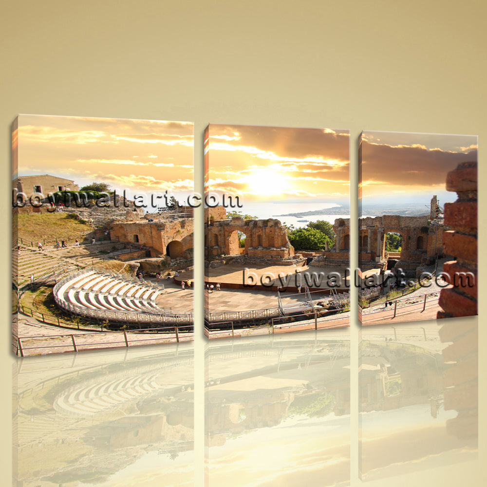 Large Greek Taormina Landscape On Canvas Wall Art Home Decor Living Room