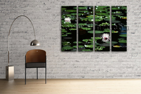 Large Lily Flower Floral Impressionism Wall Art Print Living Room Four Pieces