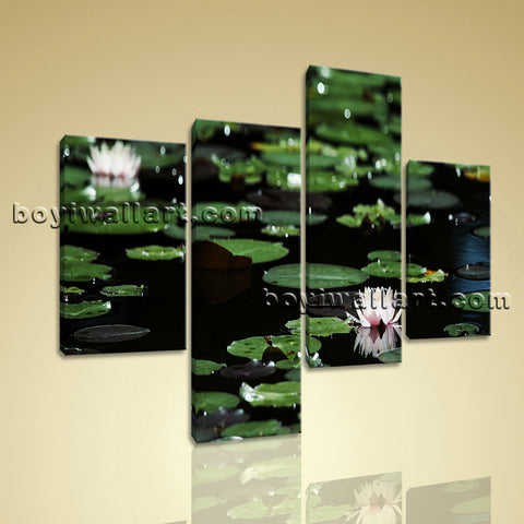 Large Lily Flower Pond Canvas Art Impressionism Home Four Pieces Print