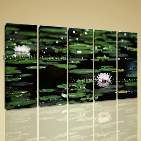 Large Lily Flower Pond Floral Impressionism On Canvas Wall Art Decor Dining Room