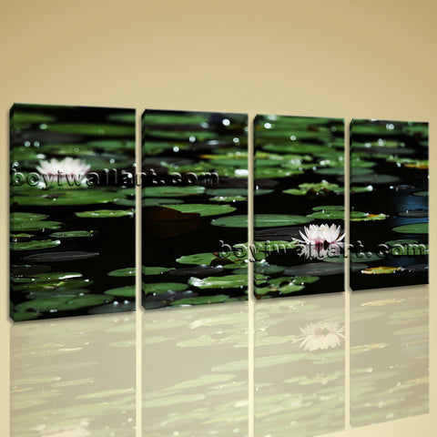 Large Water Lily Floral Impressionism On Canvas Wall Art Print 4 Panels Giclee