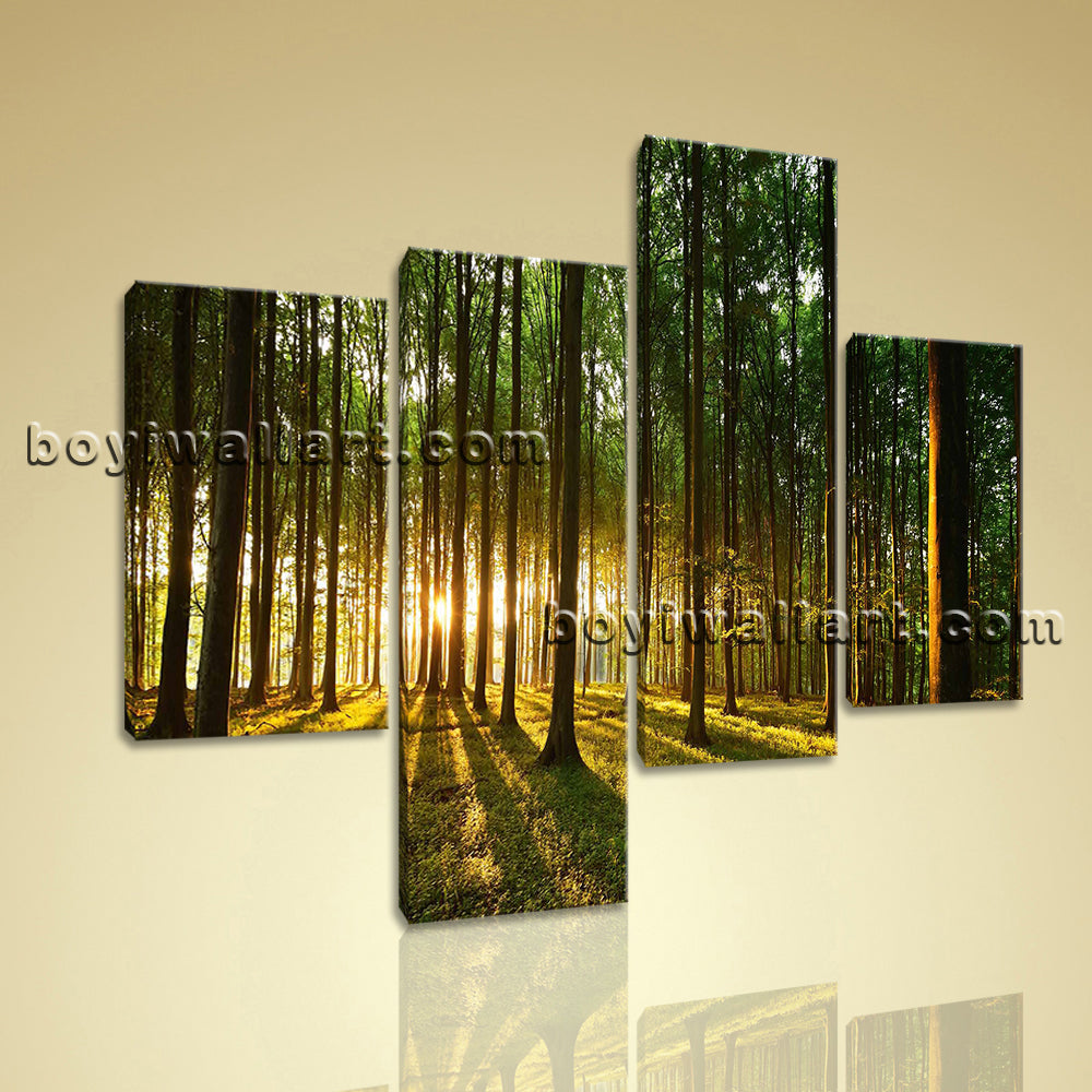 Large Beautiful Forest Picture Painting On Canvas Living Room 4 Pieces Print