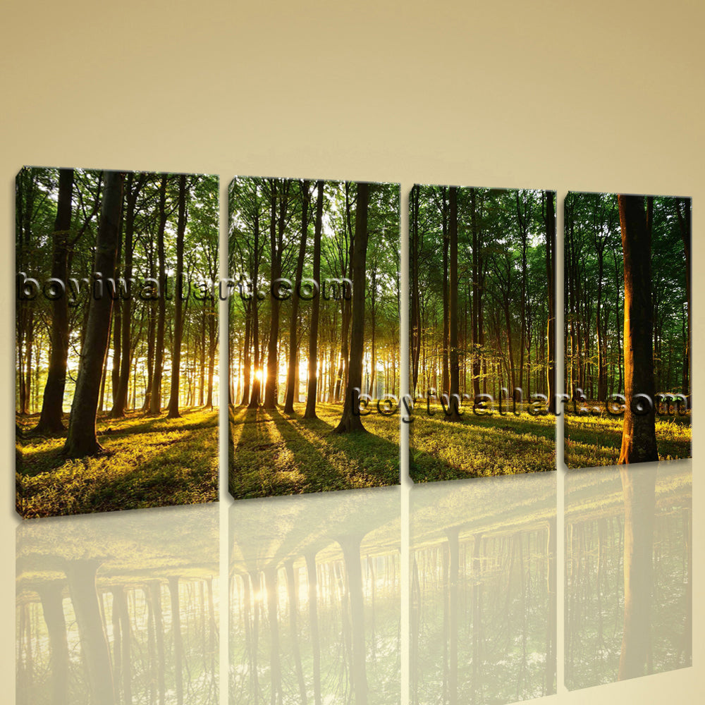 Large Beautiful Forest Landscape Photography Painting Printed On Canvas BedRoom