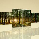 Large Beautiful Forest Wall Art Painting Dining Room Tetraptych Pieces print