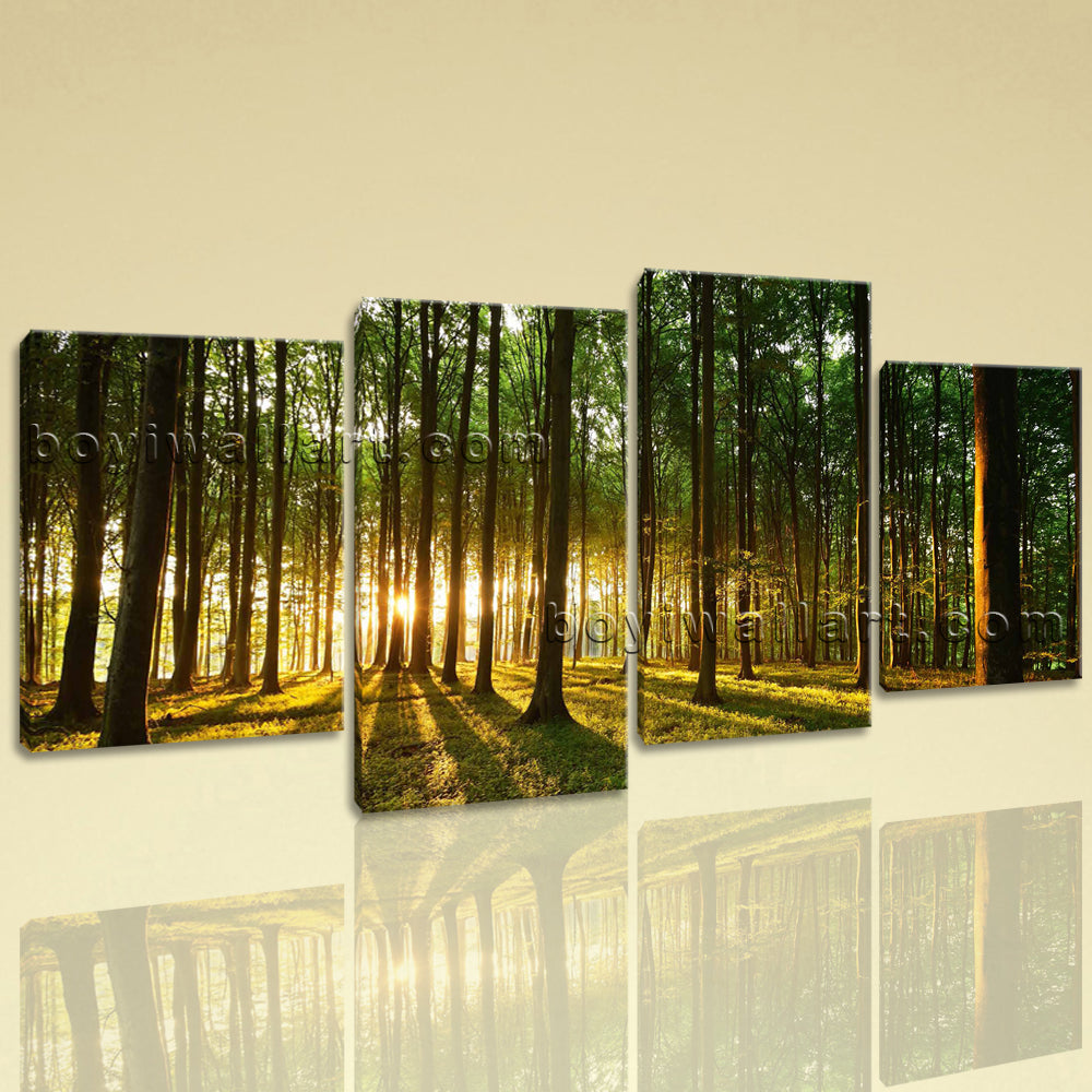Large Forest Sunset Landscape Photography On Canvas Print Wall Decor Living Room