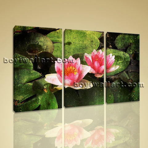 Large Lily Flower Floral Abstract Print Canvas Wall Art 1 Panels Giclee Prints