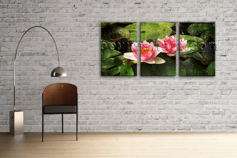 Large Water Lily Floral Abstract Wall Art Giclee Printed On Canvas Living Room