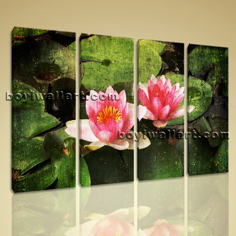 Large Water Lily Floral Abstract On Canvas Print Wall Art Living Room 4 Panels