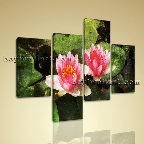 Large Lily Flower Pond Wall Art Abstract Home Tetraptych Pieces Print