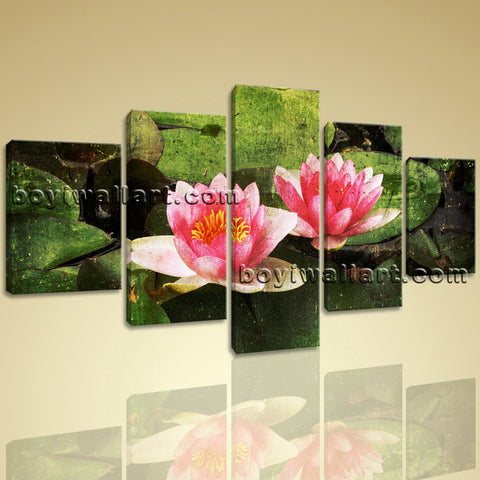 Large Water Lily Floral Abstract Canvas Print Wall Decor Dining Room Five Pieces