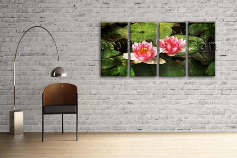 Large Lily Flower Floral Abstract On Canvas Wall Art Tetraptych Panels Print