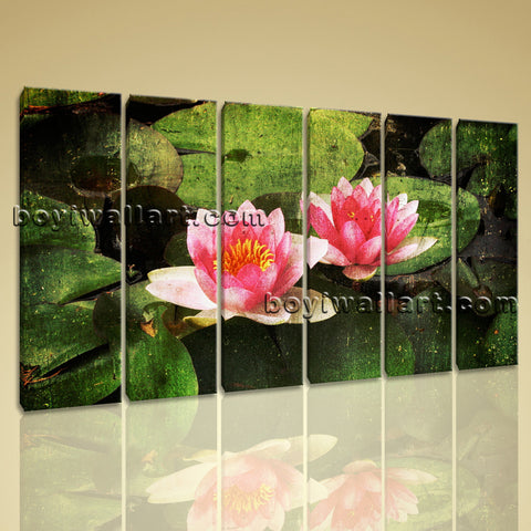 Large Lily Flower Floral Abstract On Canvas Wall Art Print Six Panels Prints