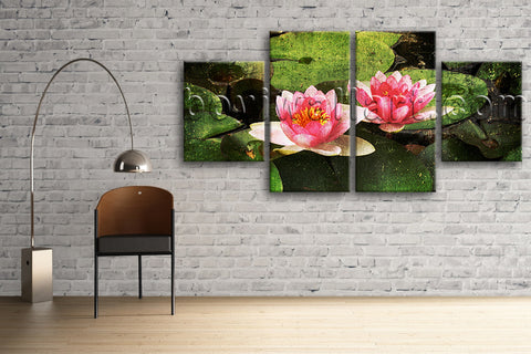 Large Lily Flower Pond Picture Abstract On Canvas Dining Room 4 Pieces Print