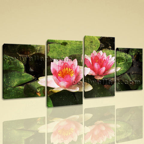 Large Lily Flower Pond Floral Abstract Wall Art Giclee Print Four Pieces Prints