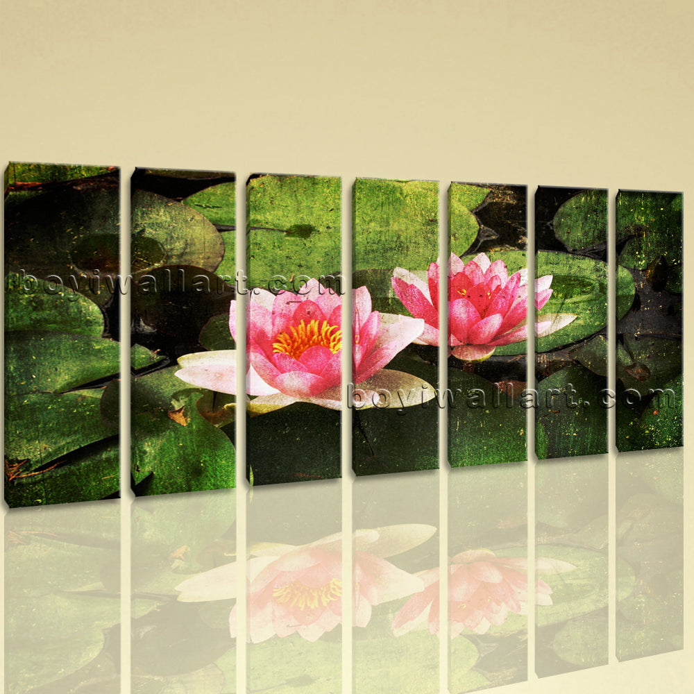 Extra Large Water Lily Floral Abstract Wall Art Canvas Print Decor