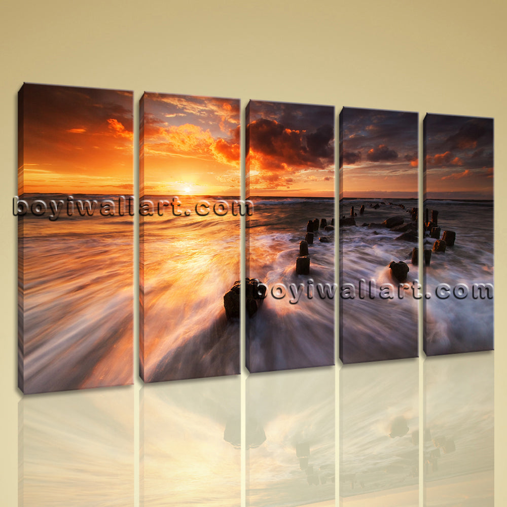 Large Beautiful Sunset Landscape On Canvas Art Print Home Decor Dining Room