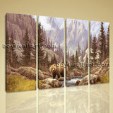 Large Bear Forest Animal Impressionism On Canvas Wall Art 4 Pieces Giclee Print