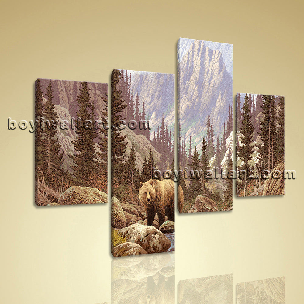Large Bear Forest Wall Impressionism Canvas Art Tetraptych Panels print