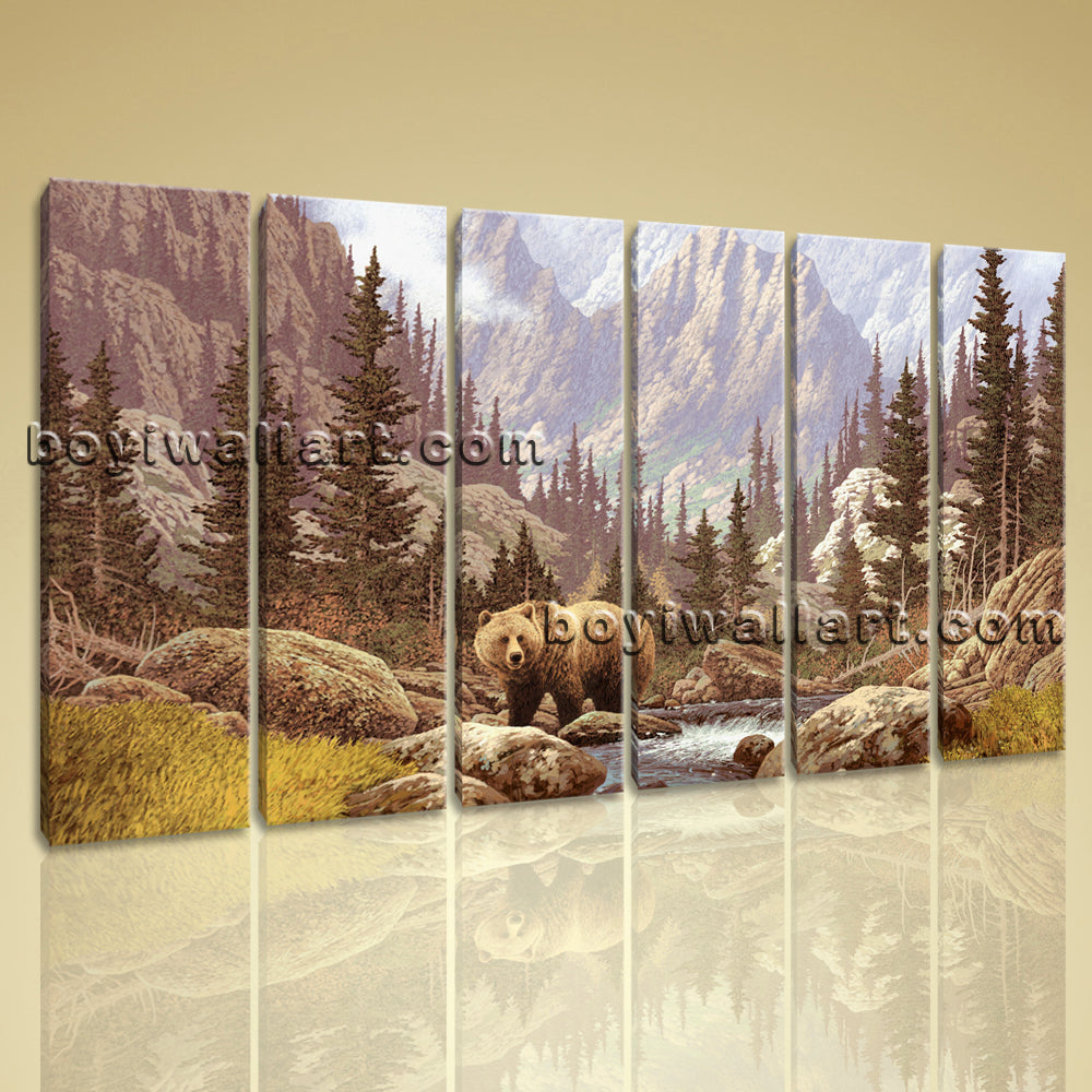 Large Bear Forest Animal Impressionism On Canvas Wall Art 6 Panels Giclee Print