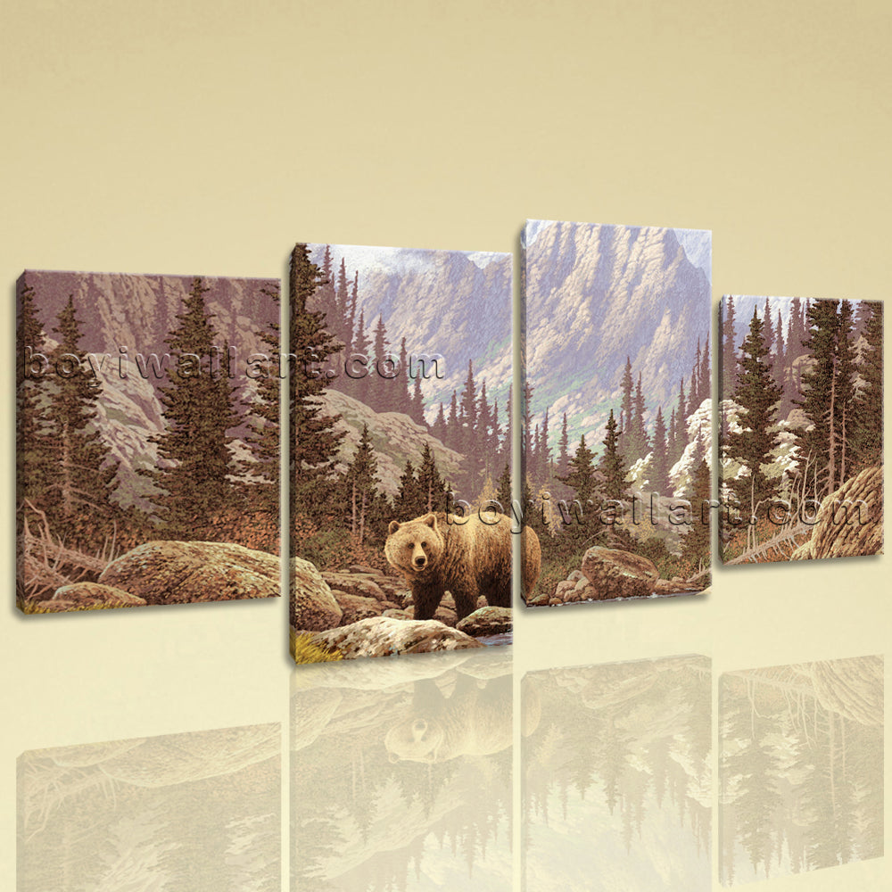 Large Bear Forest Animal Impressionism On Canvas Wall Art Giclee Print 4 Panels