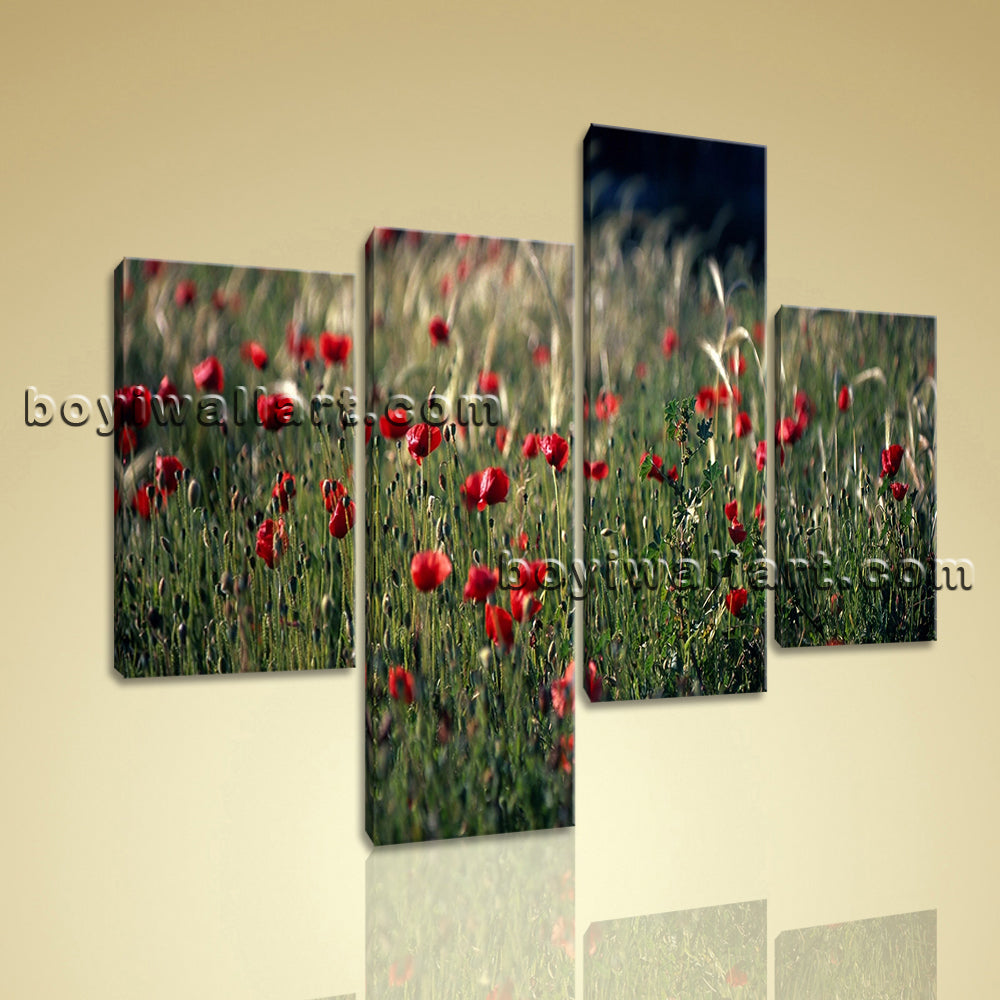 Large Crimson Field Kitty And Thomas Flower Wall Living Room Four Panels Print