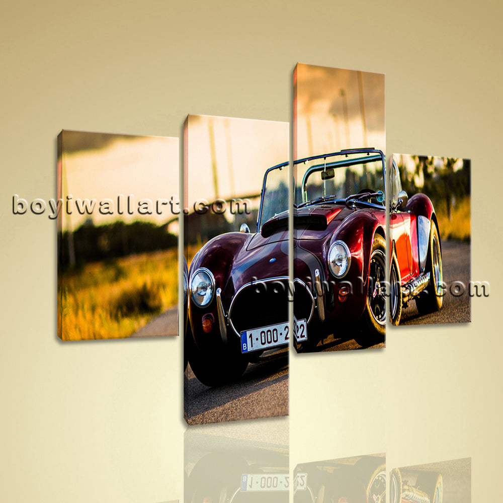 Large Cobra Classic Car Canvas Art Painting On Living Room Four Panels Print