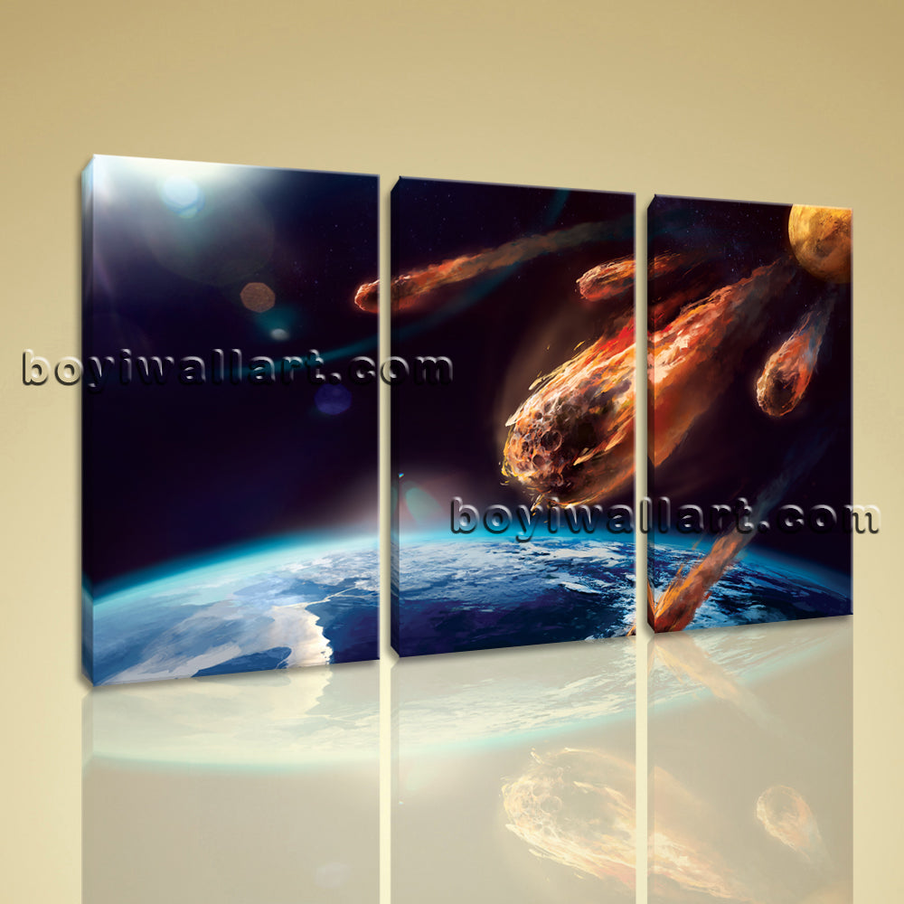 Large Asteroid Other On Canvas Print Wall Decor Bedroom Triptych Pieces Prints
