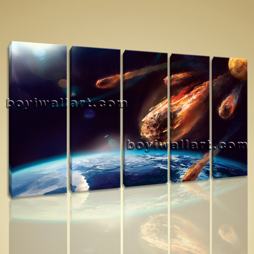 Large Asteroid Hit Eart Other Photography On Canvas Wall Art Decor Dining Room