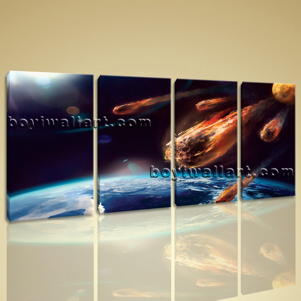 Large Asteroid Hit Eart Other Photography Wall Art Printed On Canvas BedRoom