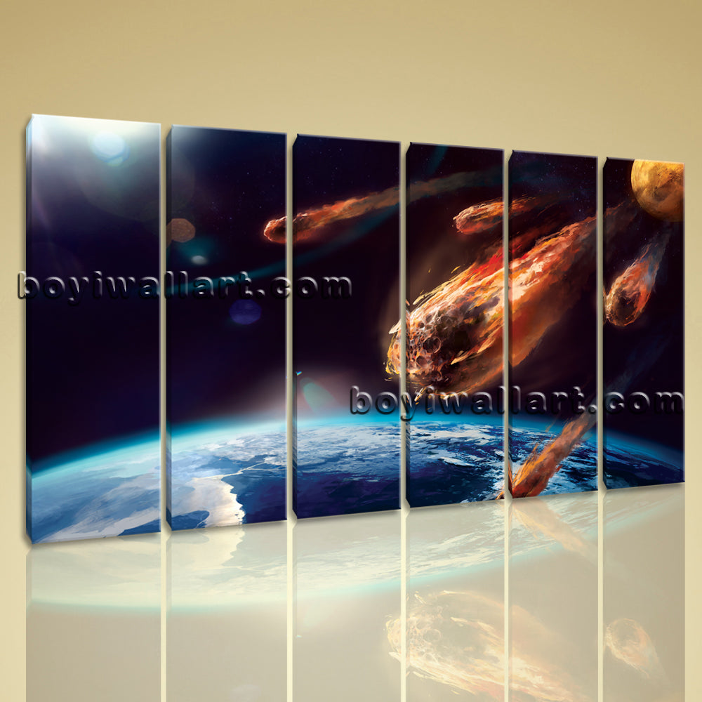 Large Asteroid Hit Eart Other Photography Print On Canvas Wall Art Living Room