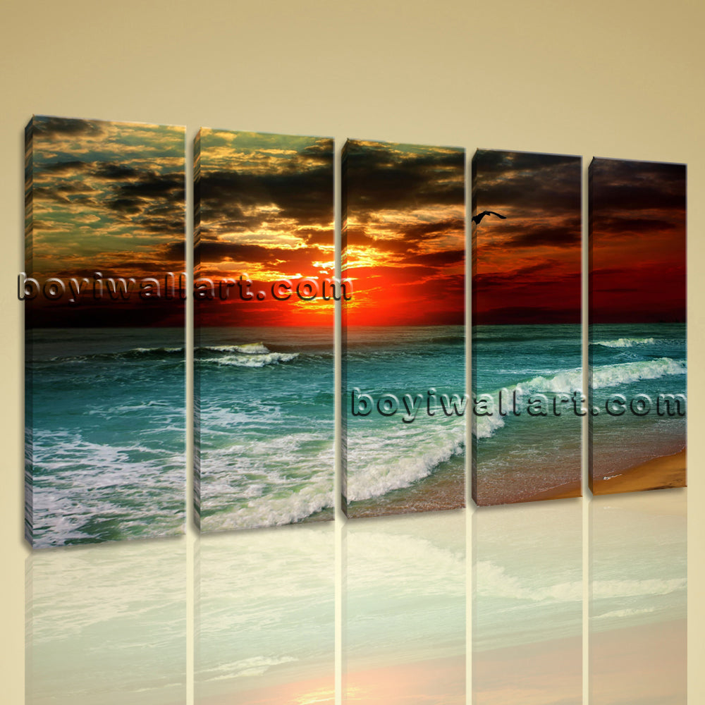 Large Beautiful Ocean Sunset Landscape Photography On Canvas Wall Art Home Decor