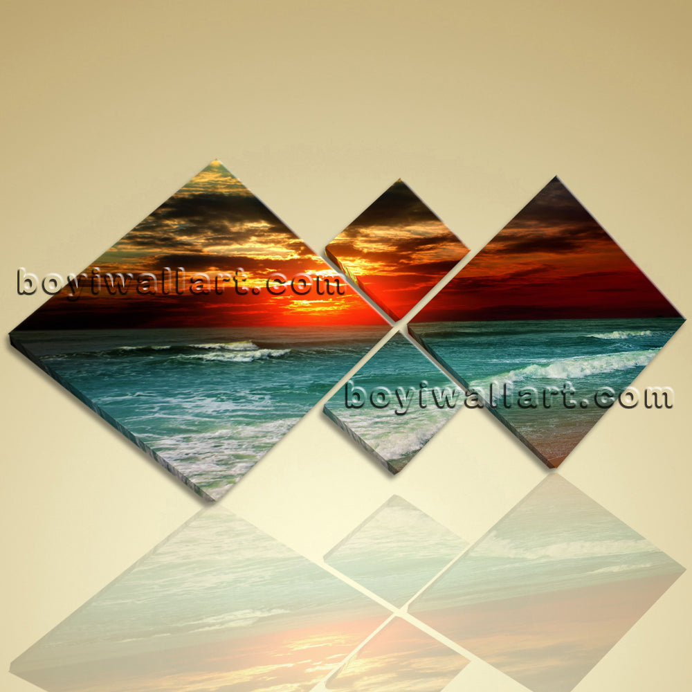 Large Beautiful Ocean Sunset Landscape Photography Canvas Print Wall Art BedRoom