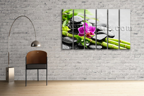 Large Zen Orchid And Stones Feng Shui Contemporary Wall Art Print On Canvas