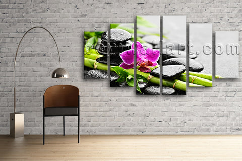 Large Zen Basalt Stones Orchid Flower Wall Art Hexaptych Panels print