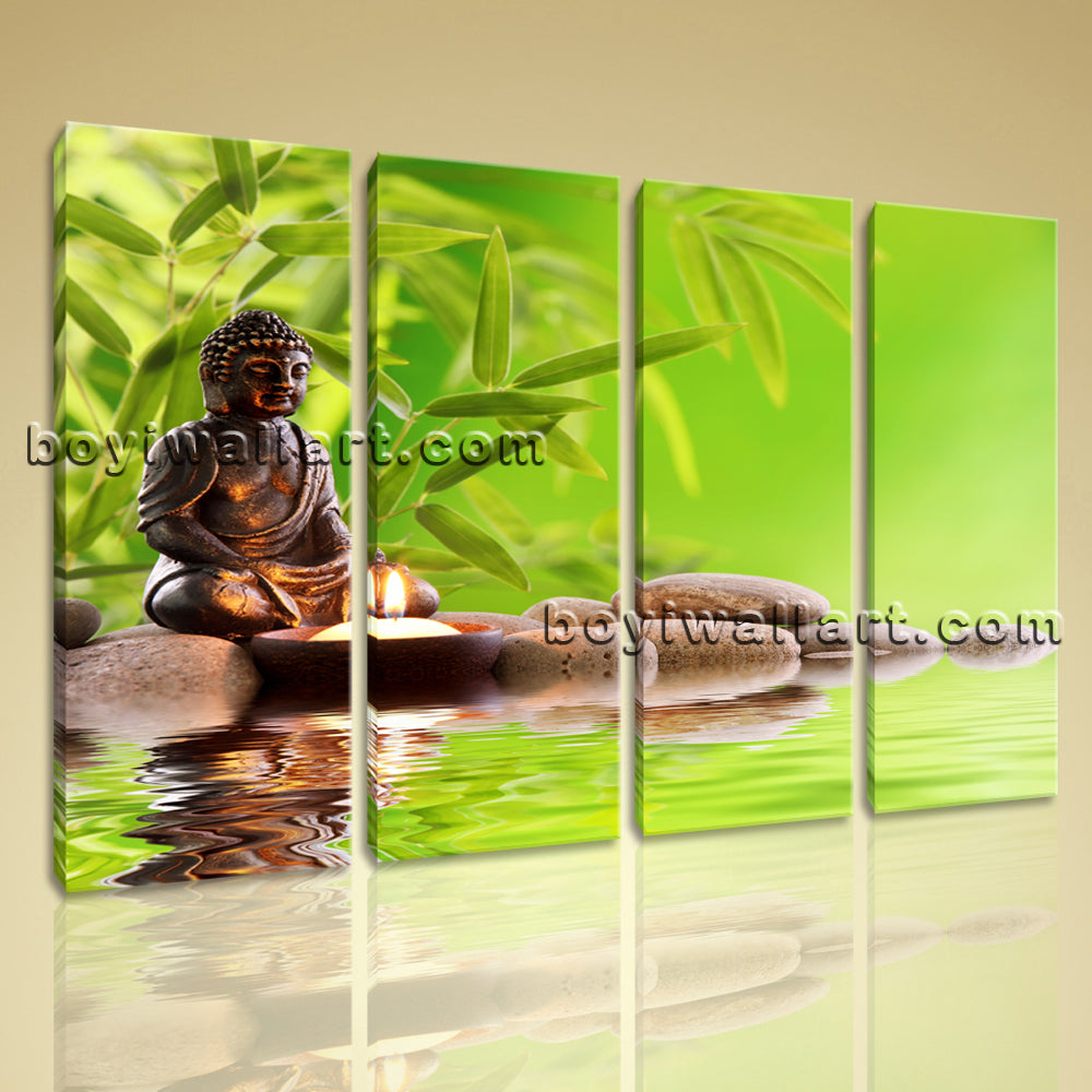 Large Feng Shui Buddha Contemporary On Canvas Print Wall Home Decor Living Room