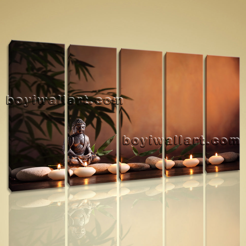 Large Feng Shui Buddha Contemporary Wall Art Giclee Print Dining Room 5 Panels