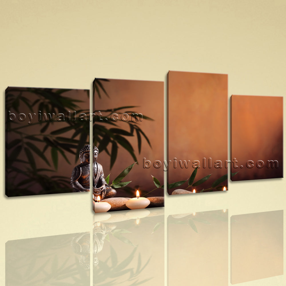 Large Feng Shui Buddha Contemporary On Canvas Giclee Print Wall Art Four Pieces