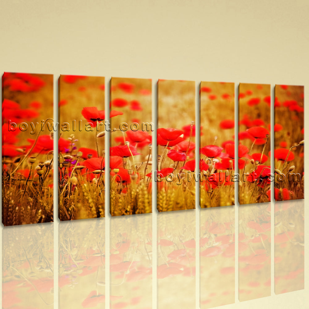 Extra Large Wheat Field With Poppies Floral Contemporary Wall Art ...