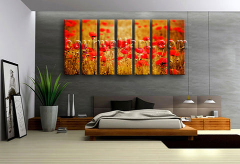 Extra Large Wheat Field With Poppies Floral Contemporary Wall Art Giclee Print