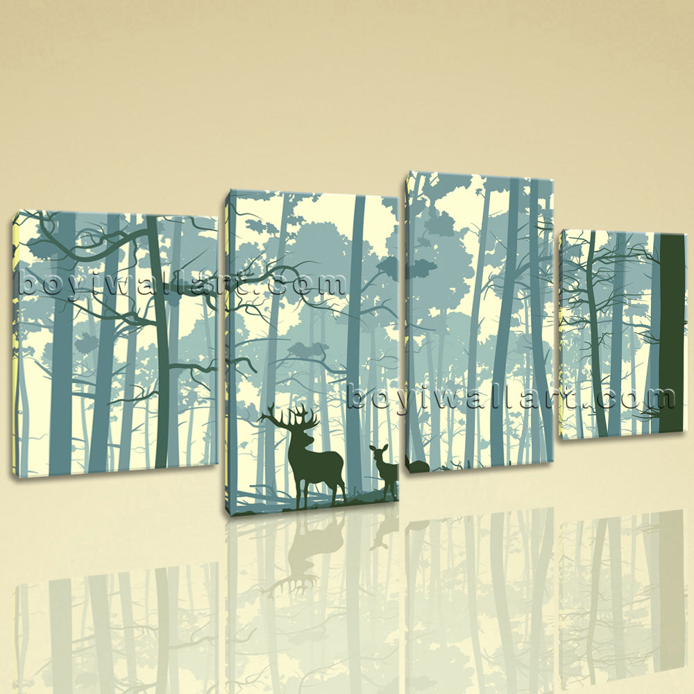 Large Deer Forest Trees Animal Contemporary Wall Art HD Giclee Printed On Canvas