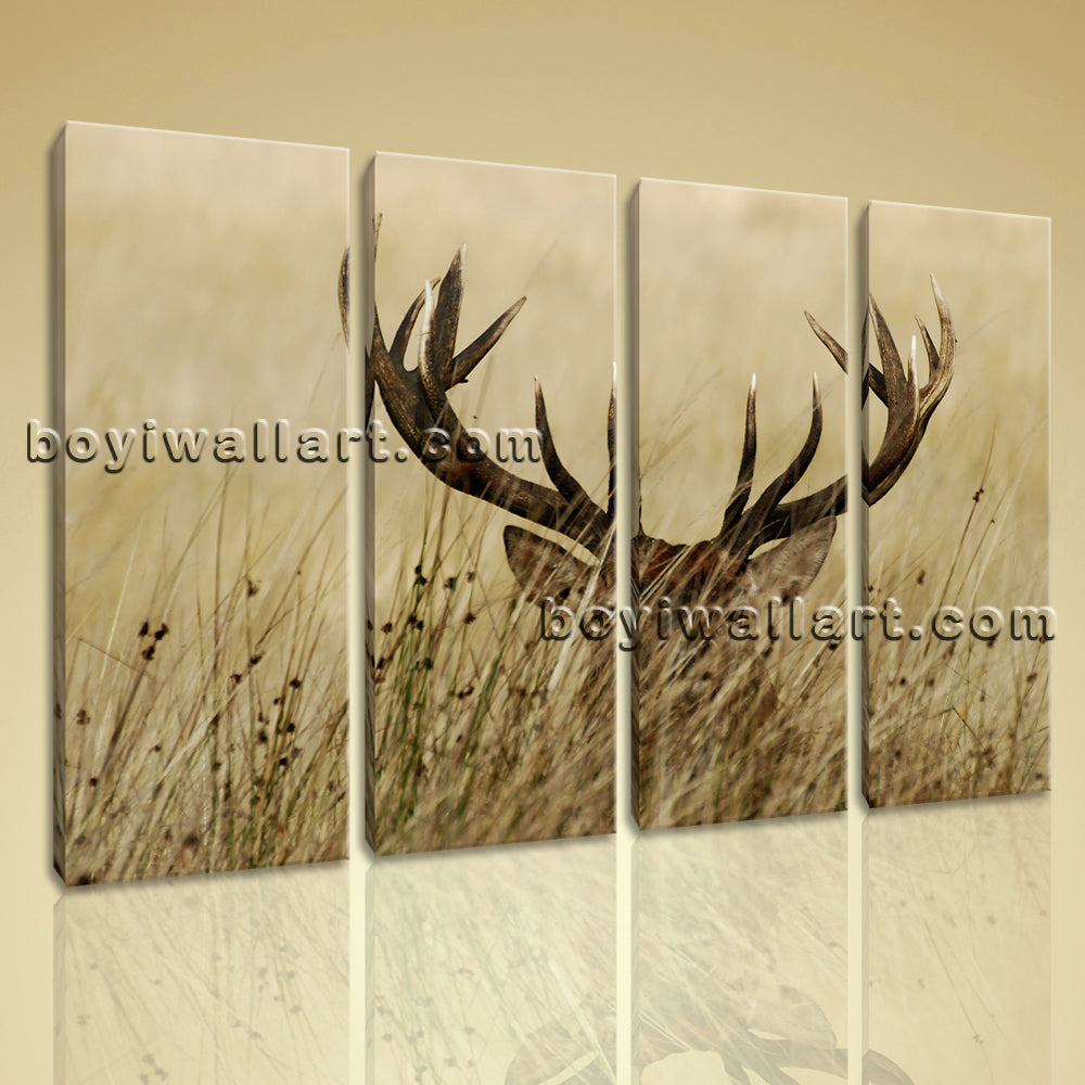 Large ELK Animal Contemporary Wall Art Canvas Print Home Decor Living Room