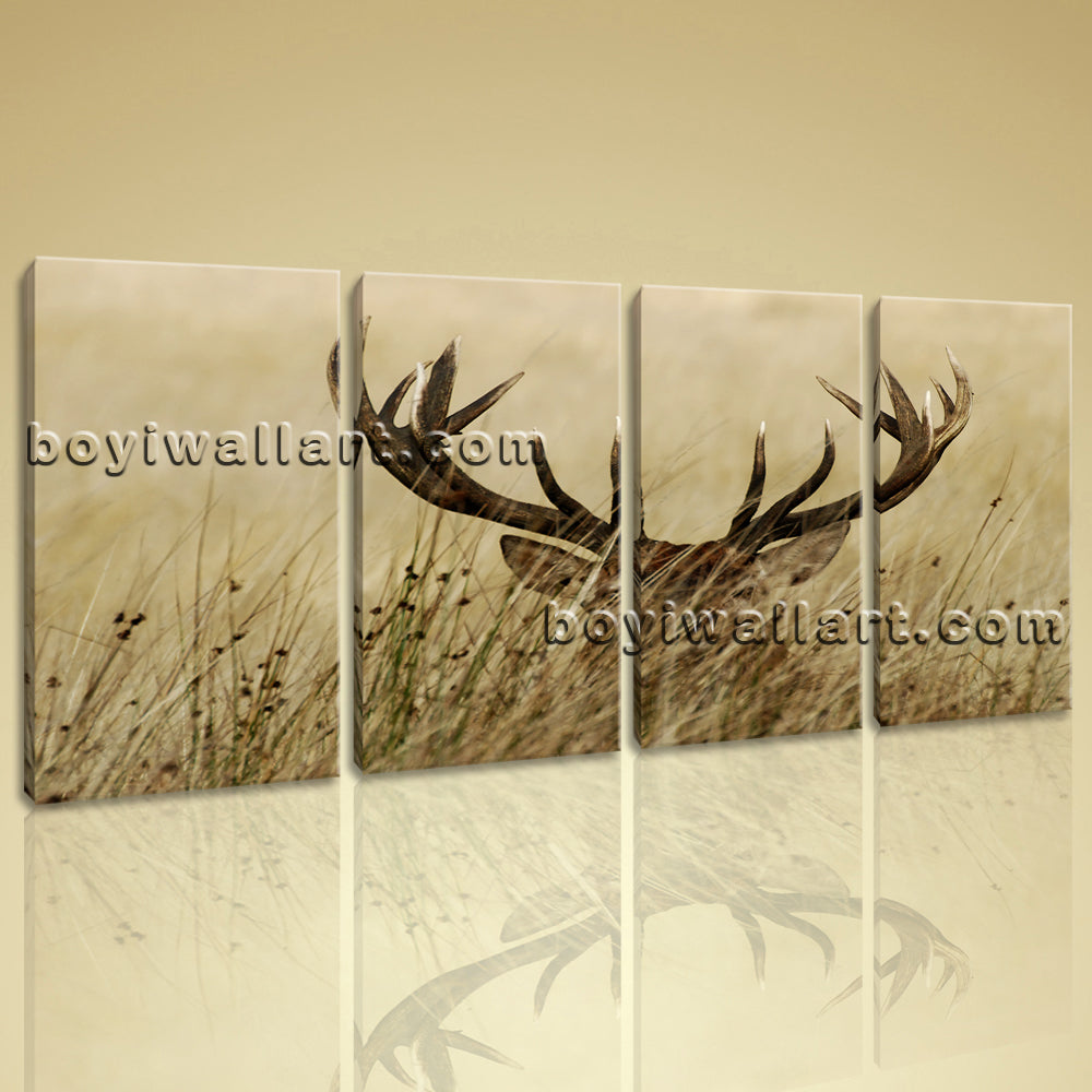 Large ELK Animal Contemporary Canvas Print Wall Decor 4 Panels Prints