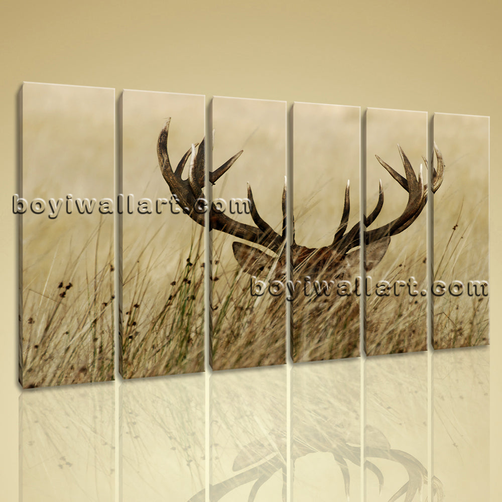 Large ELK Animal Contemporary On Canvas Print Wall Art Living Room
