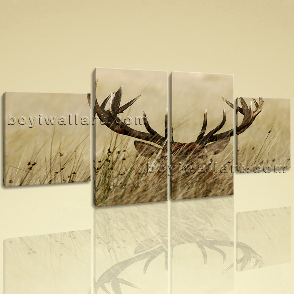 Large ELK Canvas Art Contemporary Wall Dining Room Four Panels Print