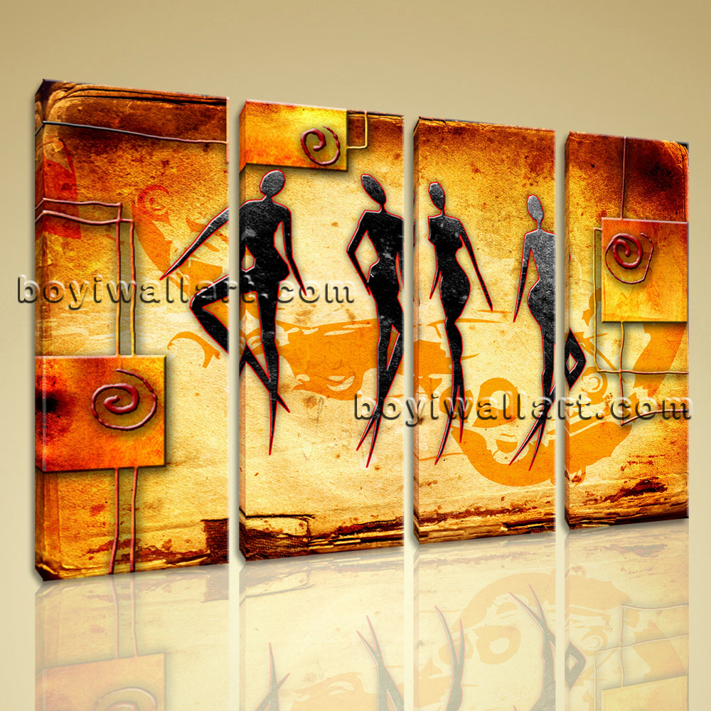 Large African Retro Figure Contemporary On Canvas Wall Art Decor ...
