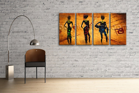 Large Vintage African Ethnic Figure Contemporary Canvas Art Print Decor BedRoom