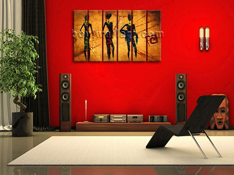 Large Vintage African Ethnic Figure Contemporary On Canvas Wall Art Living Room