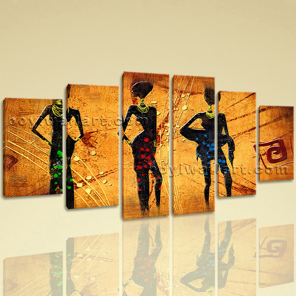 Large Vintage African Ethnic Abstract Canvas Art Dining Room 6 ...