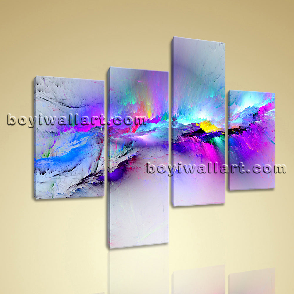Large Fancy Paint Abstract Canvas Art Modern Home Living Room 4 Pieces print